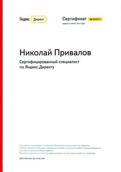 Сертификат Яндекса (сертифицированный специалист)