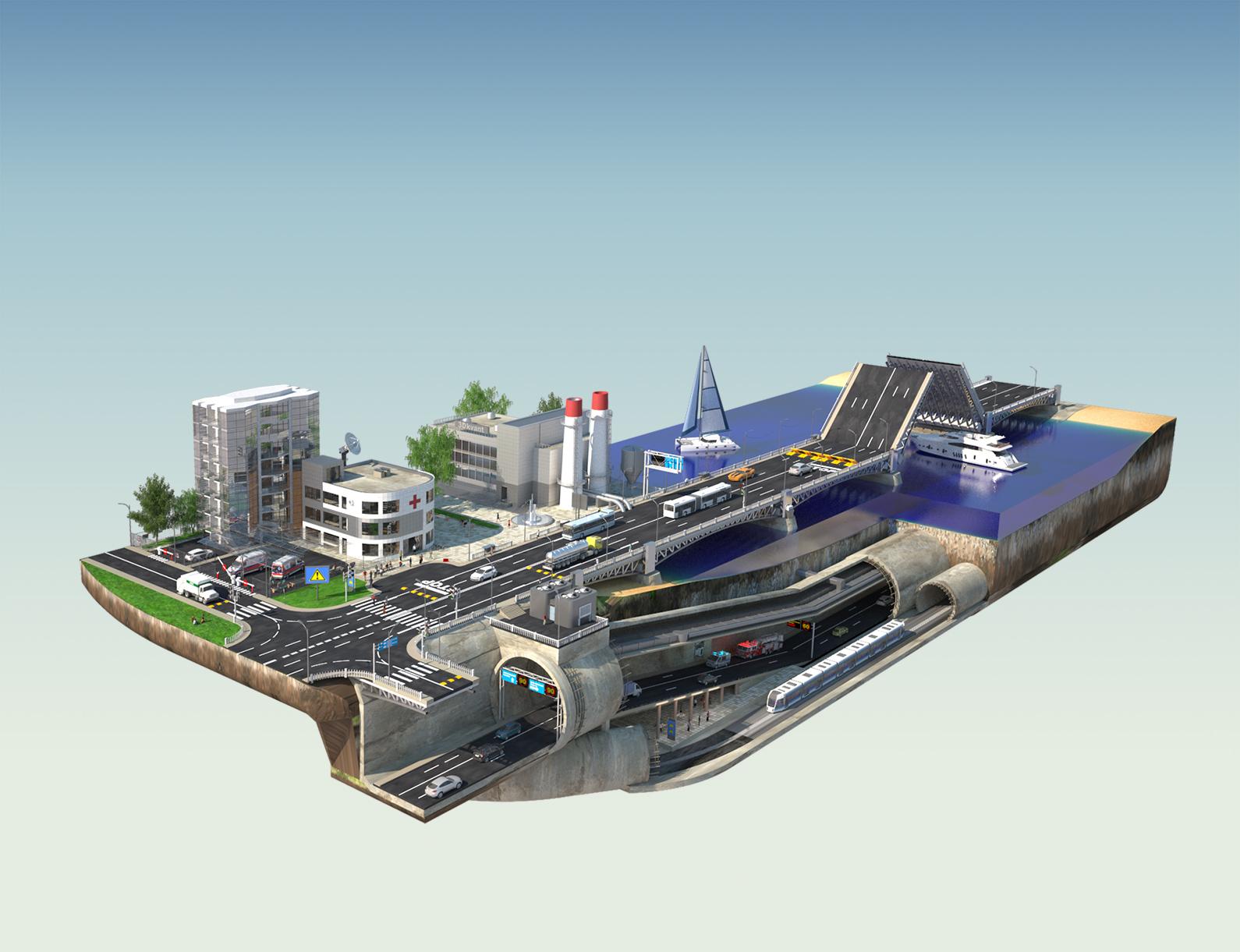 Иллюстрация города 3d