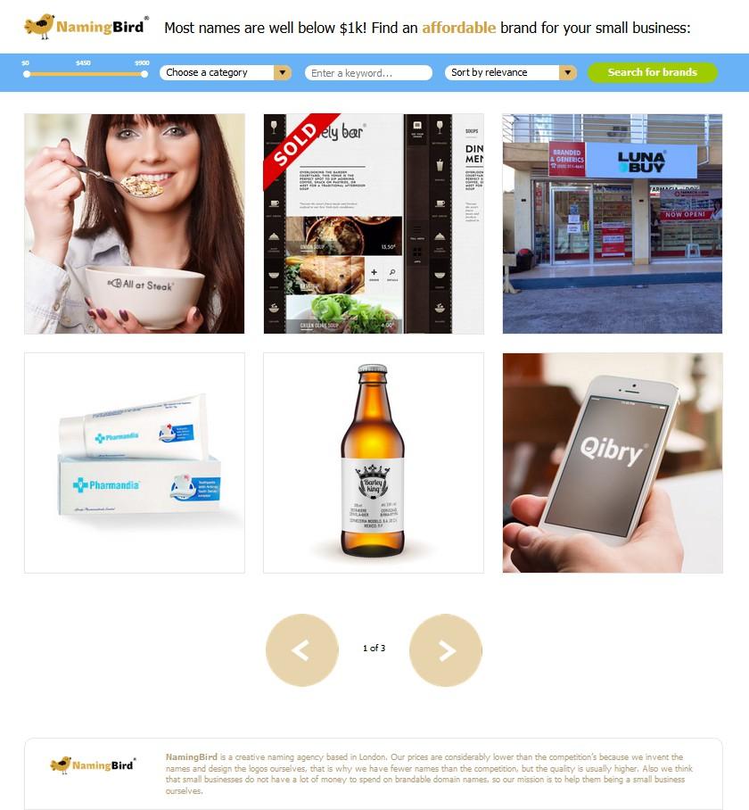 Сайт брендингового агенства Namingbird