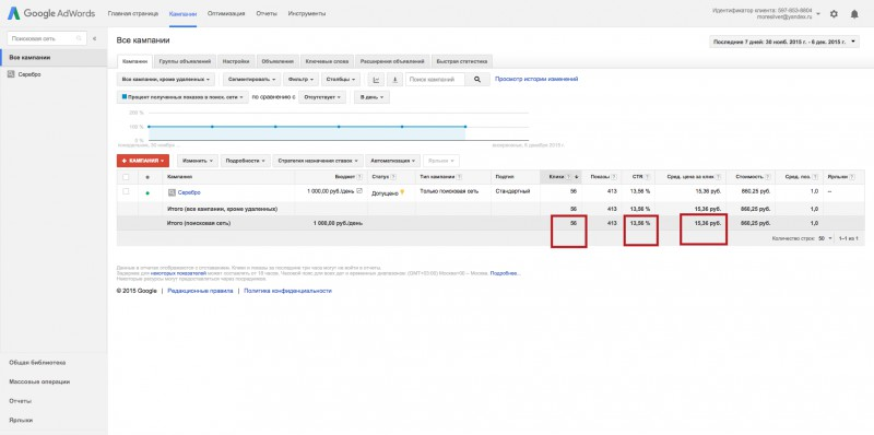Интернет-магазин по продаже серебра (Москва) Google Adwords