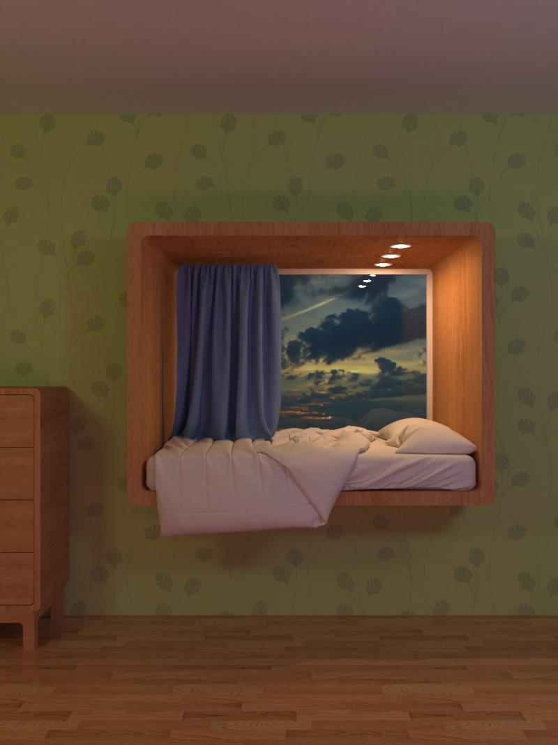 Кровать в оконном проёме