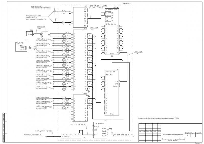 Схема электрических соединений ЛВС и телефония