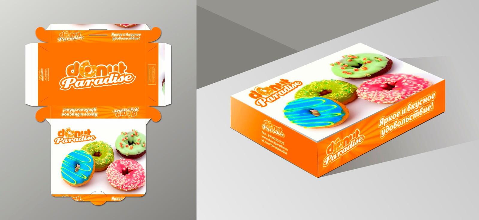 Оформление коробки для пончиков