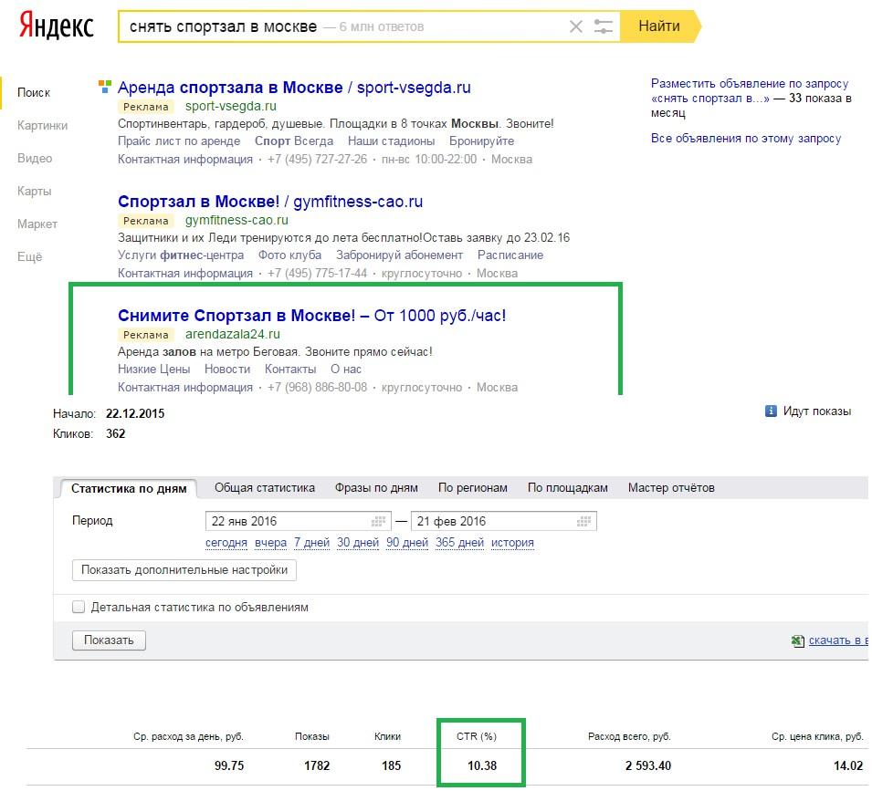 Яндекс Директ: аренда спортивных залов