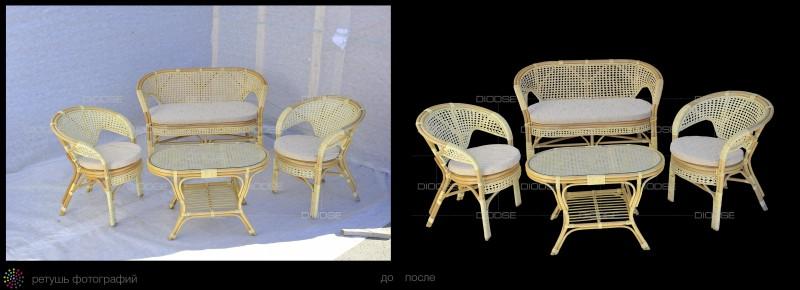 Обтравка сложной композиции из мебели