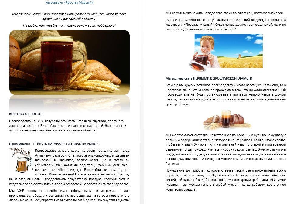 Текст для проекта на Российской краудфандинговой платформе