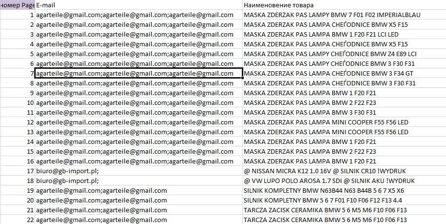 Парсер всех E-MAIL с сайта allegro.pl