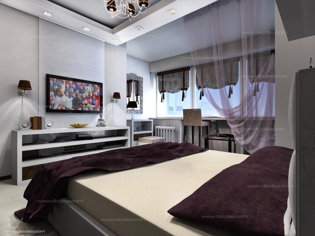 Проект 2-х комнатной квартиры.Спальная комната.