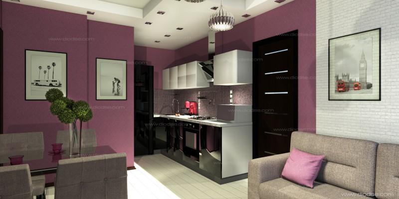 Проект 2-х комнатной квартиры.Кухня-гостиная.