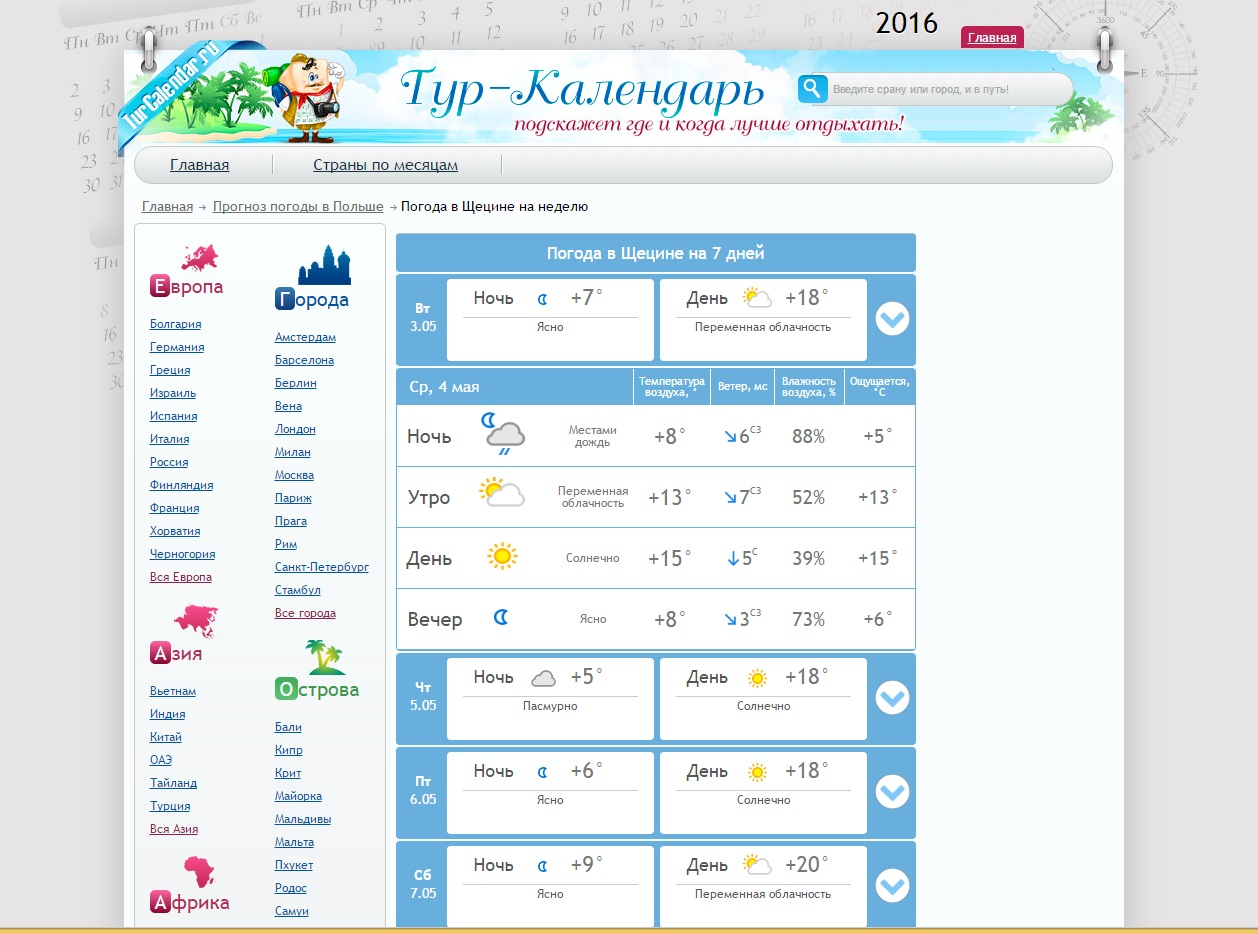 Прогноз погодыturcalendar.ru