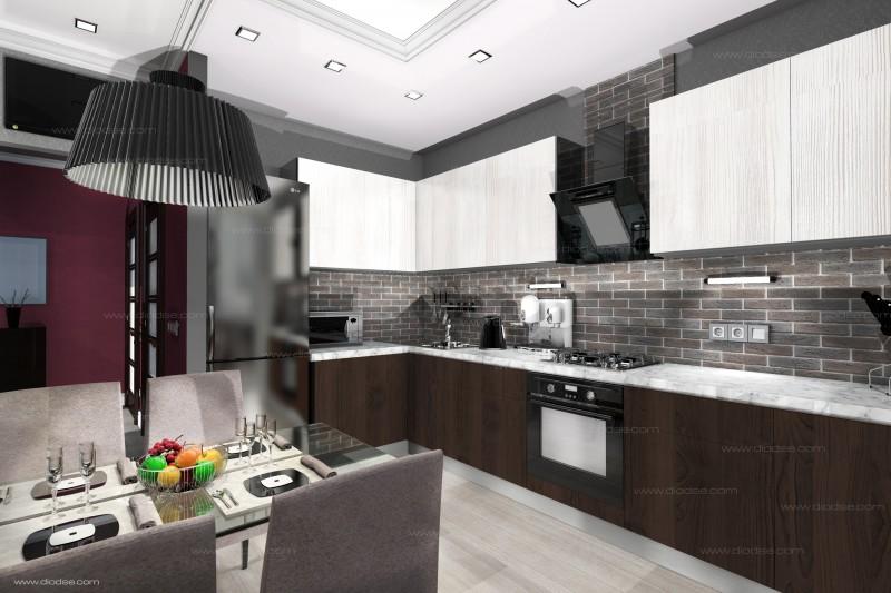 Дизайн проект 1-к квартиры г. Санкт-Петербург.Кухня