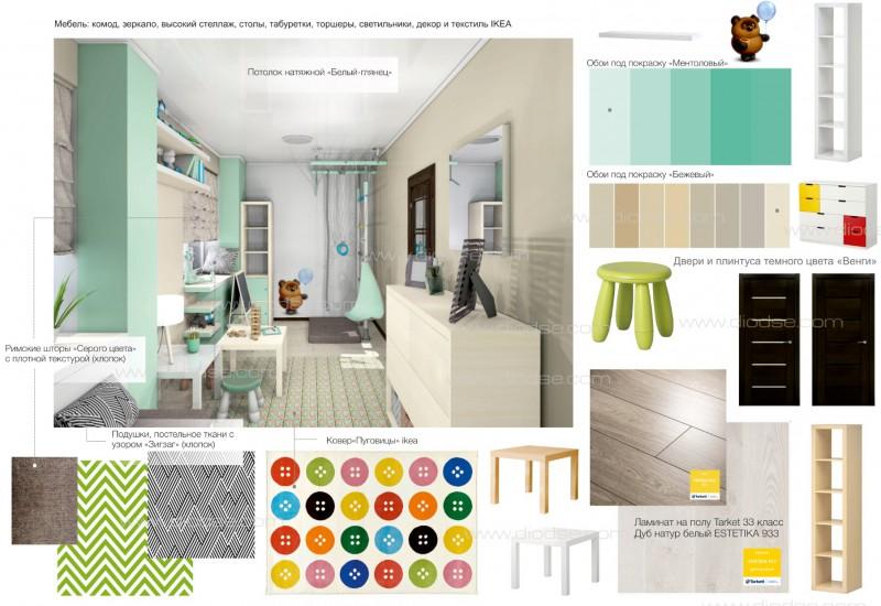 Коллаж с подбором материалов и мебели