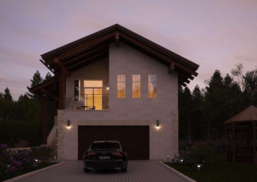 Визуализация загородного дома ночь