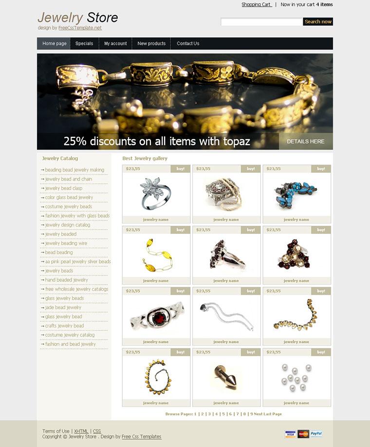 Верстка интернет магазина ювелирных изделий