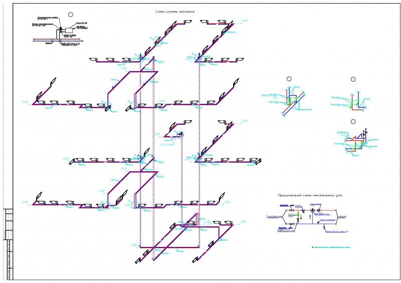 Схема системы отопления АБК