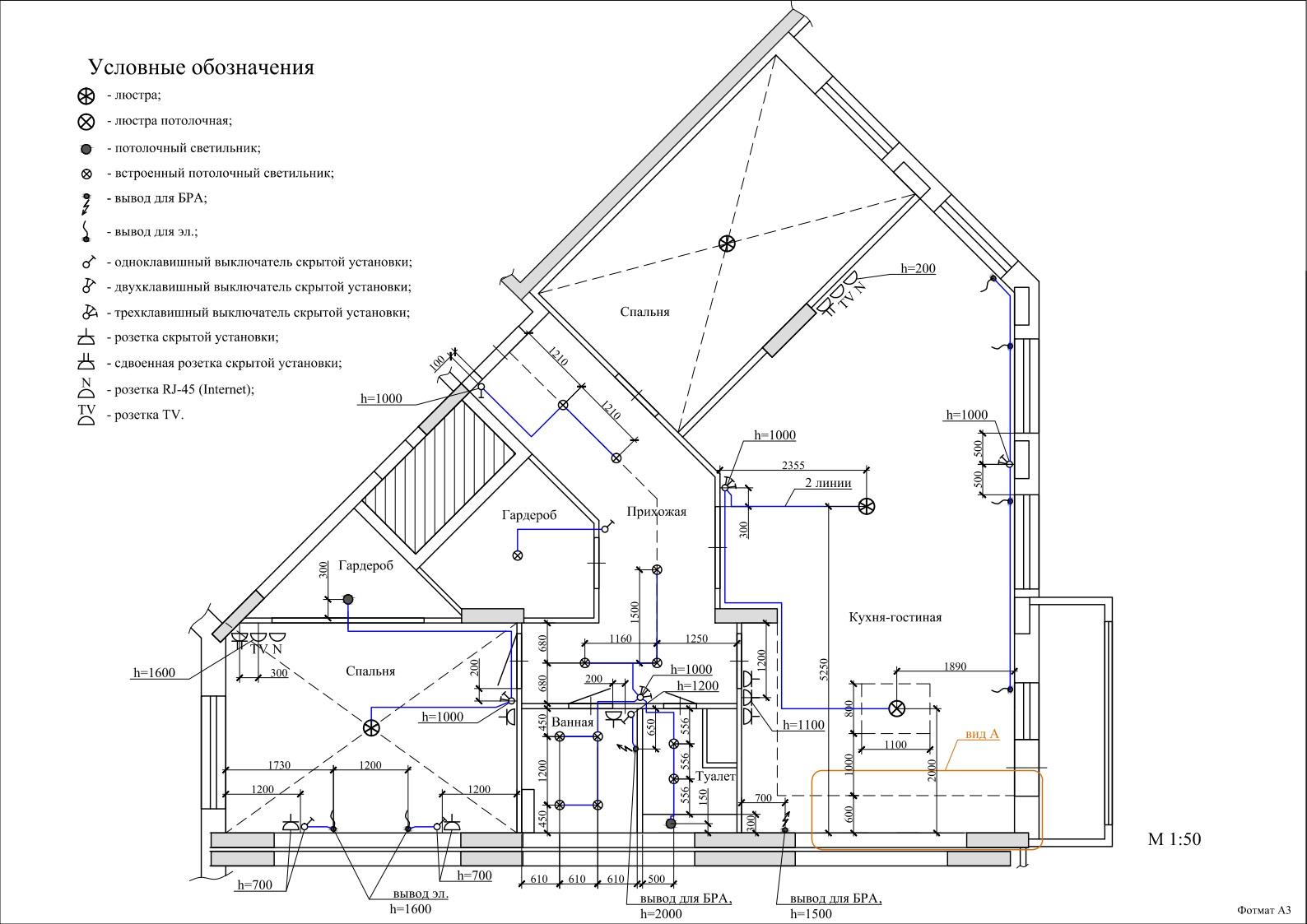 Отрисовка плана квартиры с освещением и розетками