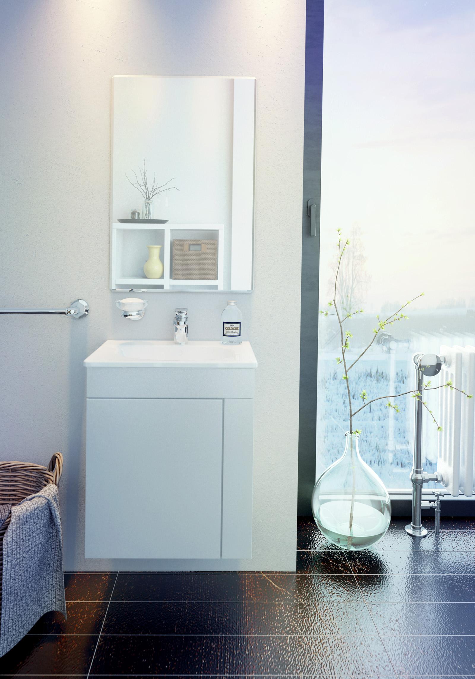 Визуализация шкафчиков для ванной комнаты для рекламы магазина