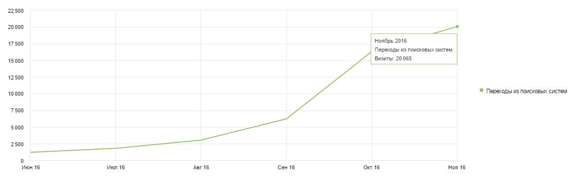 Результат продвижения интернет-магазина за 5 месяцев