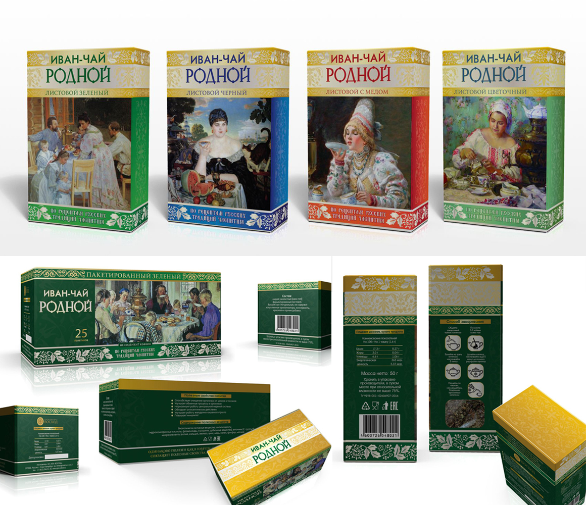 Разработка линейки упаковки для чая