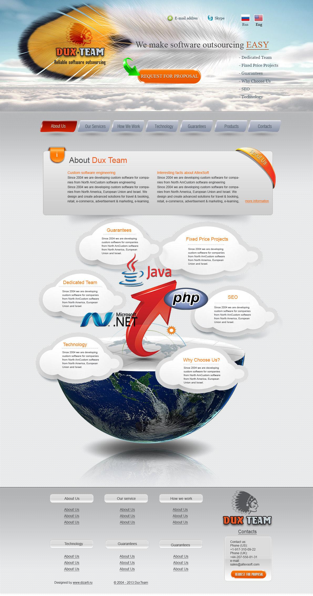 Дизайн сайта Дакс Тим