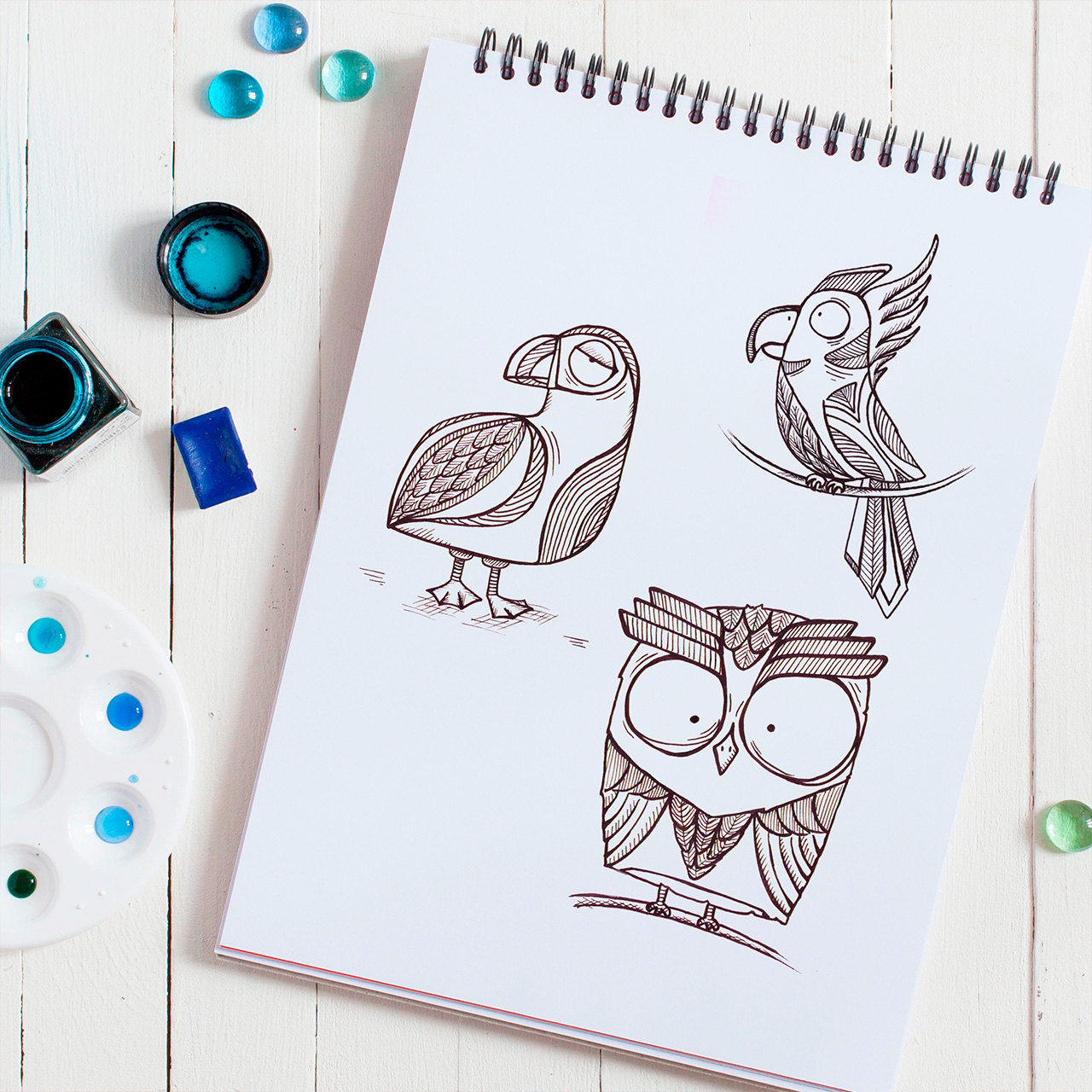 Птички line-art