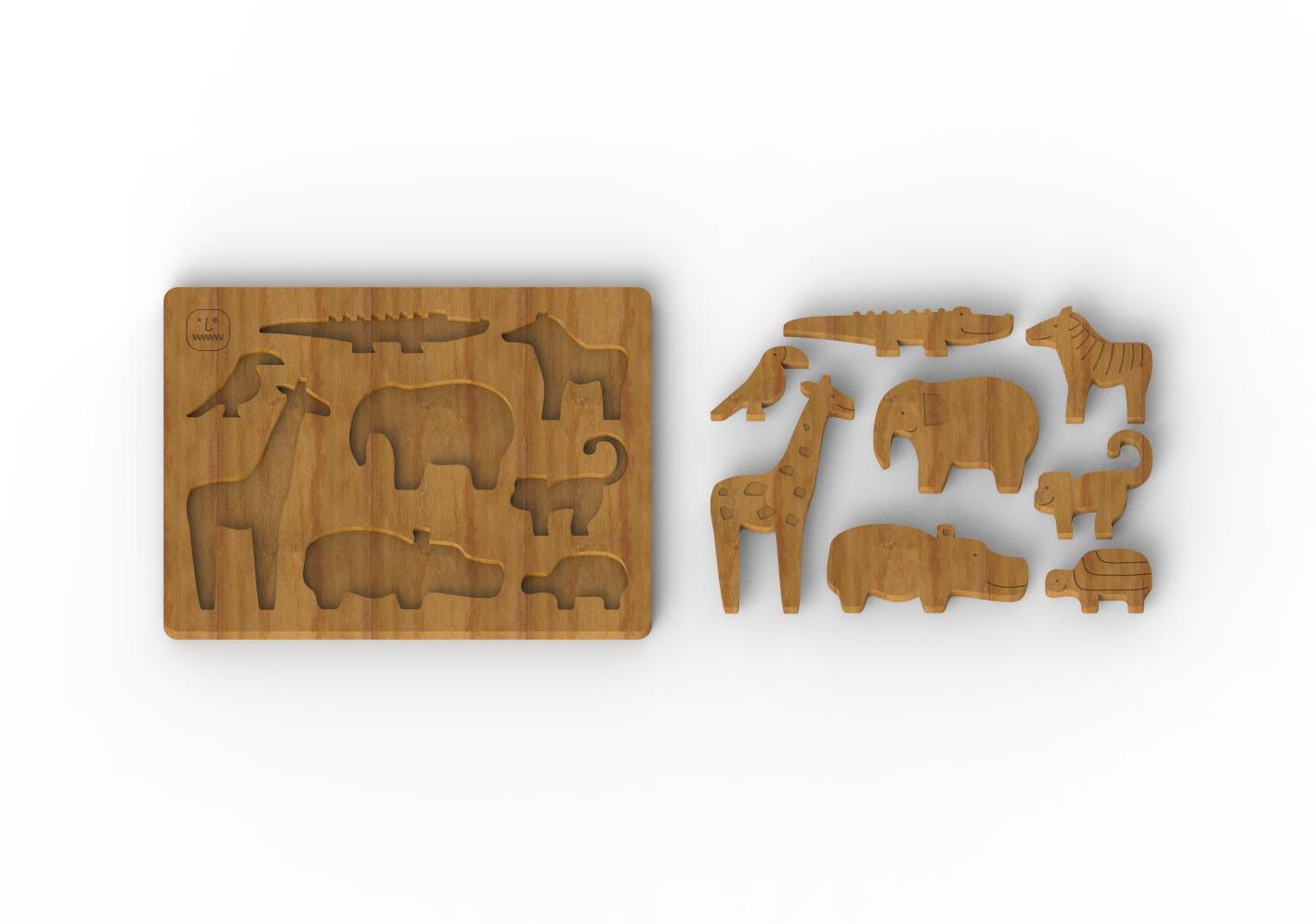 пазл Животные, деревянный набор из семи игрушек