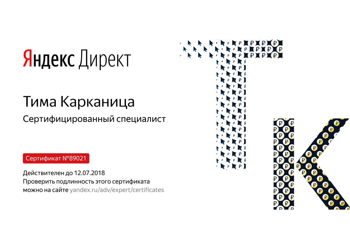 Сертификат специалиста по Яндекс.Директ до 12.07.2018
