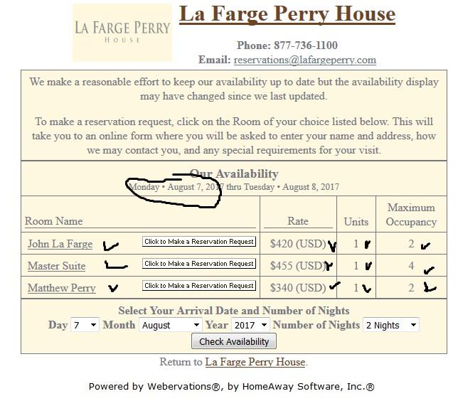 Парсинг свободных номеров отеля La Farge Perry House