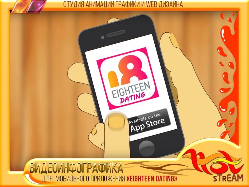 """ВИДЕОИНФОГРАФИКА для мобильного приложения """"EIGHTEEN DATING"""""""