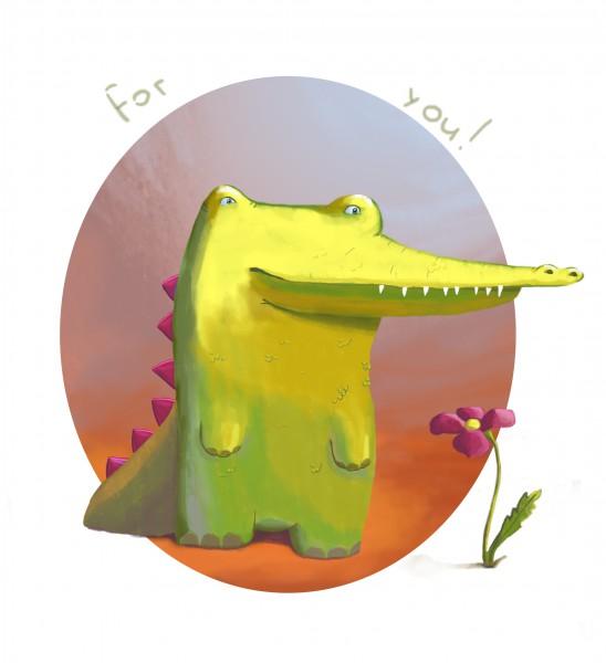 Поздравления картинках, открытка крокодилом