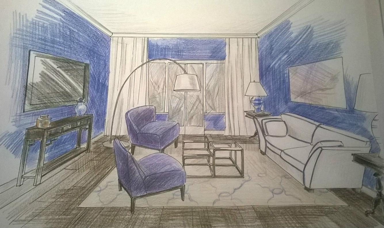 Рисунок гостиная в перспективе