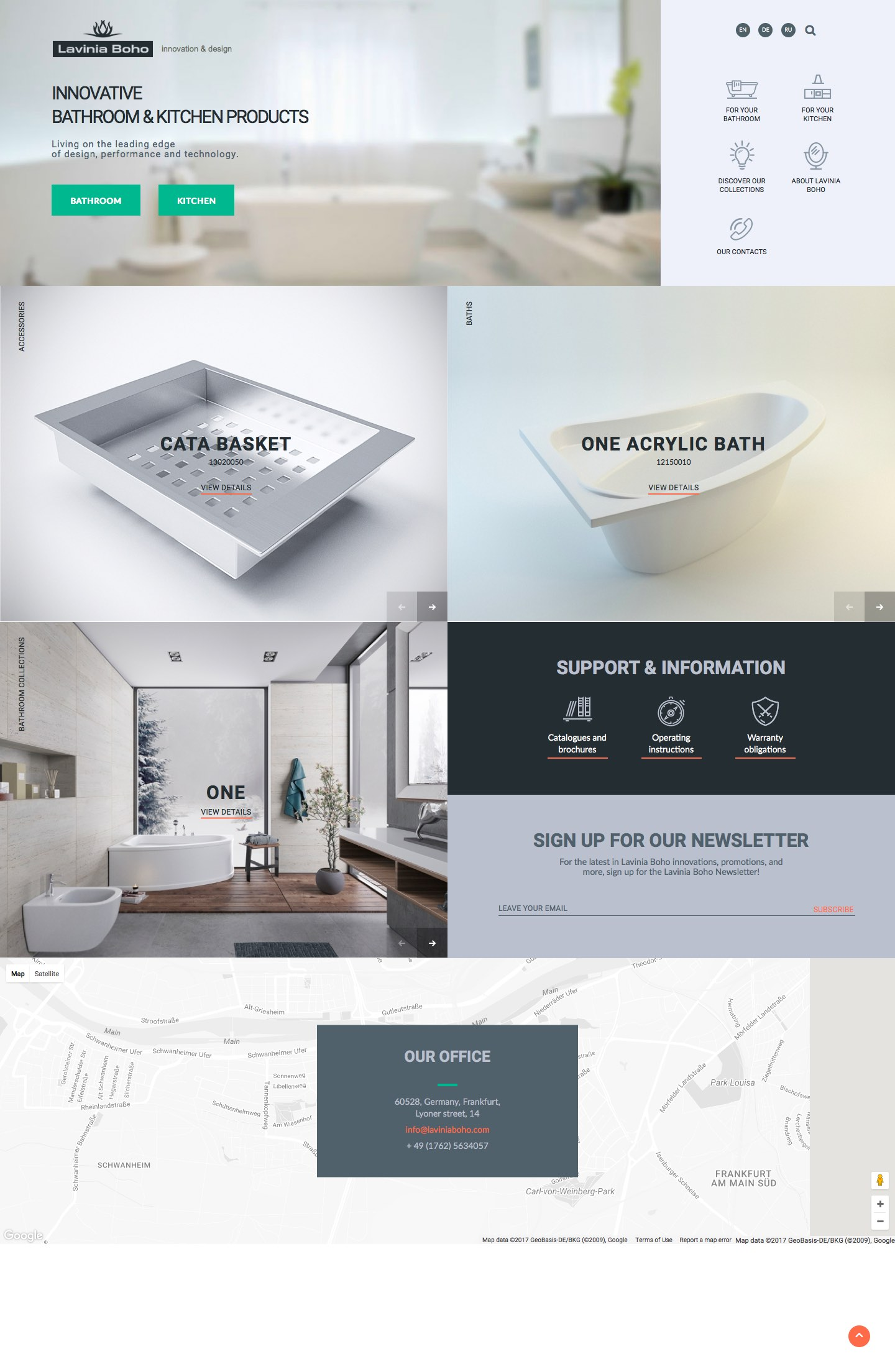 Сайт бренда Lavinia Boho на английском, русском и немецком