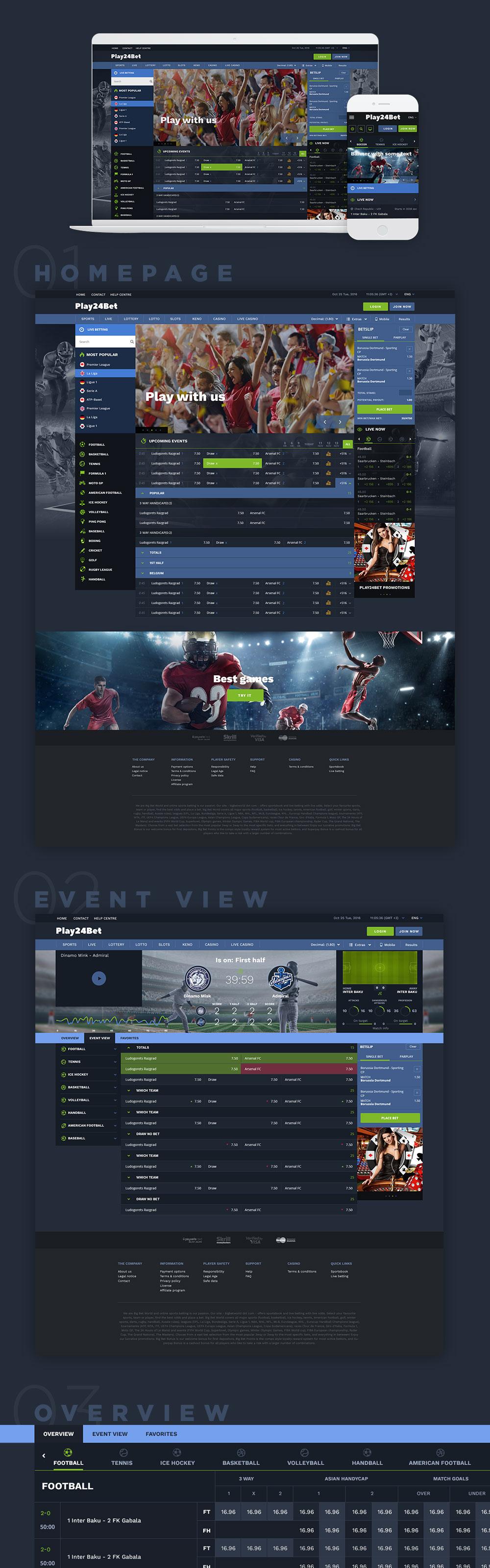 Pay24Bet. Интерфейс и дизайн сайта ставок
