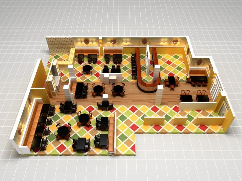 Отрисовка зала ресторана «Труффальдино» для системы бронирования