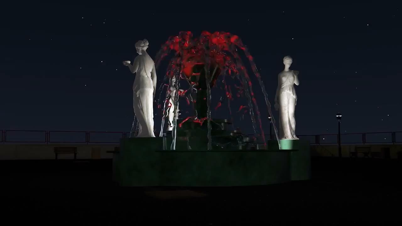 Работающий фонтан под классическую музыку.