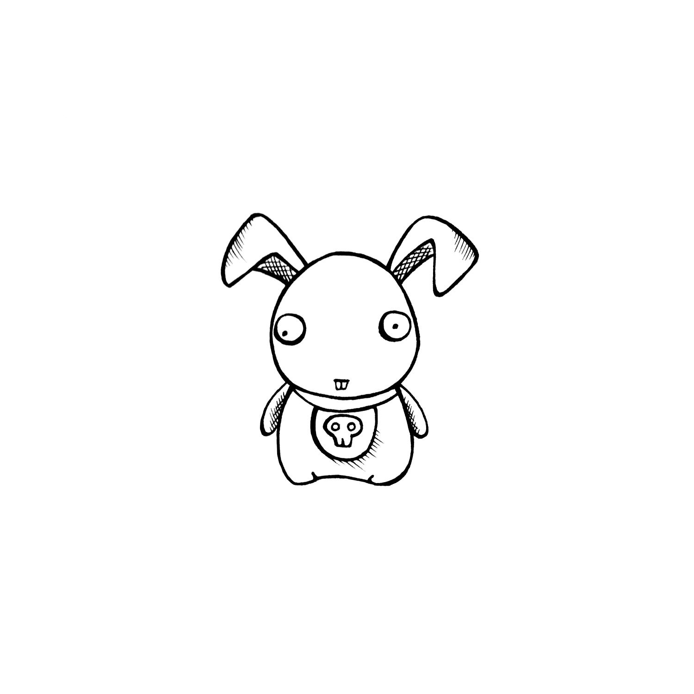 Персонаж Зомби- кролик (line-art)