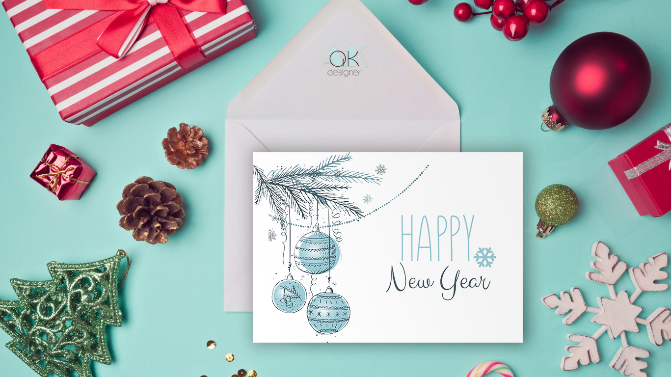 Для деловых, разработка новогодних открытки