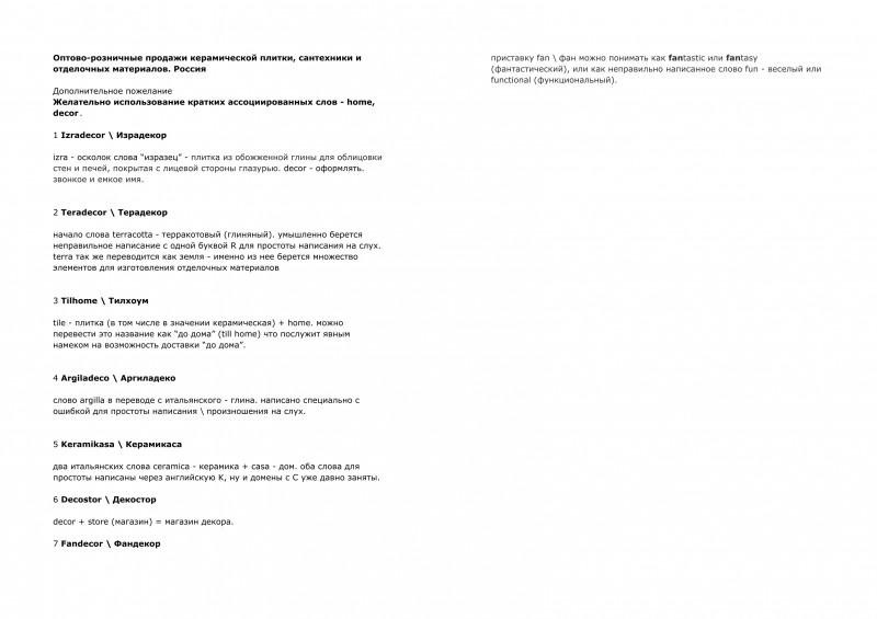 Оптово-розничные продажи керамической плитки, сантехники и отдел