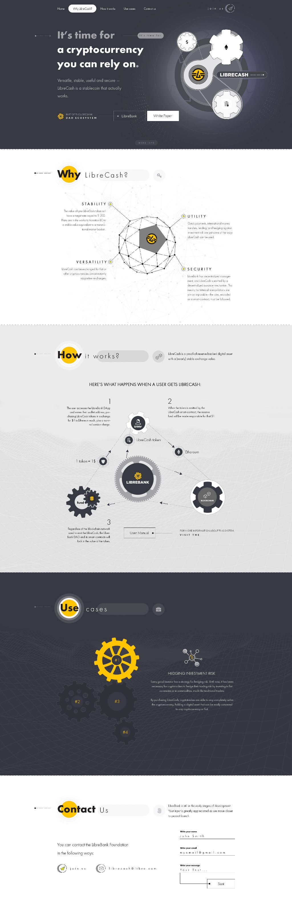 Landing Page для проведения ICO (Фонд LibreCash)