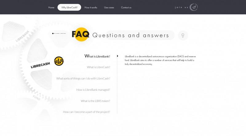 Внутренняя страница сайта LibreCash - ICO проекта