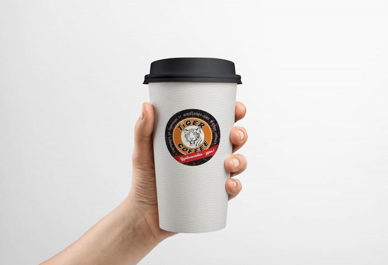 """Наклейка Ф50 мм, """"TIGER COFFEE"""", г.Партизанск"""