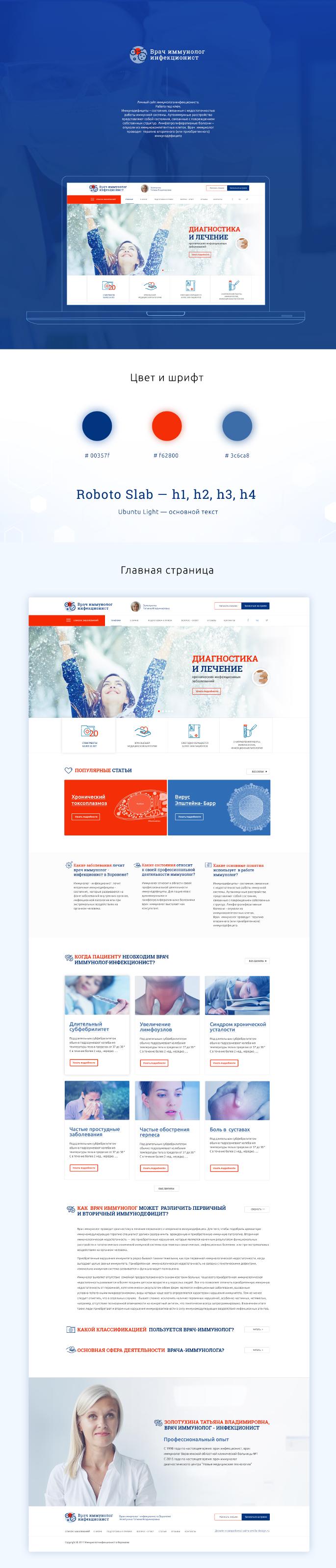 Сайт-визитка  иммунолога