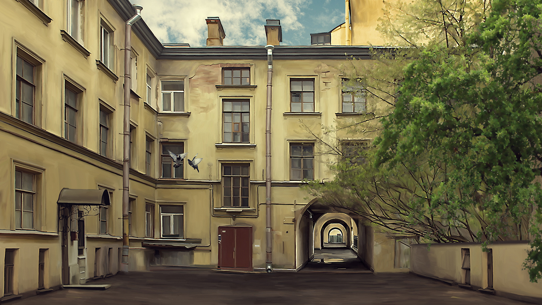 Отрисованный коллаж. Декорация московского двора.