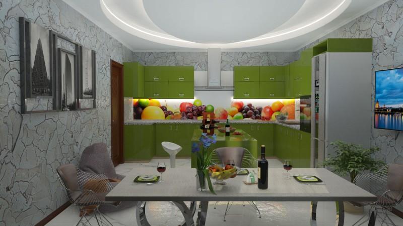 Моделирование и визуализация интерьера кухни©, cam_1