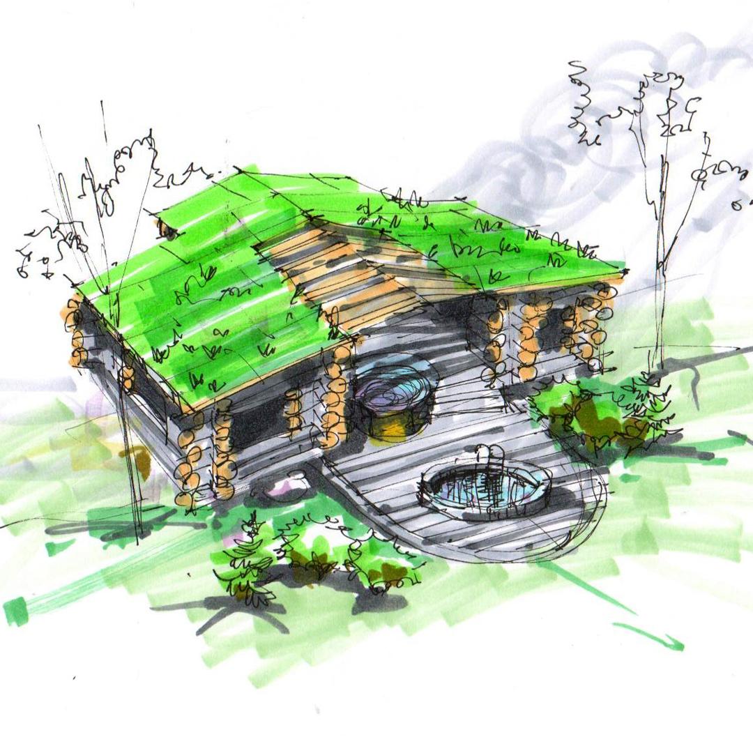 Эскиз чанного  домика