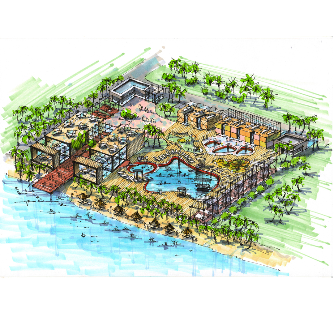 Ландшафтный дизайн спа-комплекса на берегу  океана в Таиланде