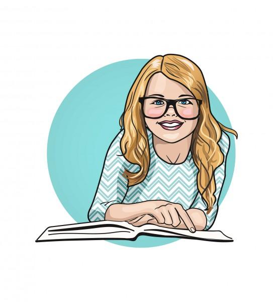 Иллюстрация девочки с книгой