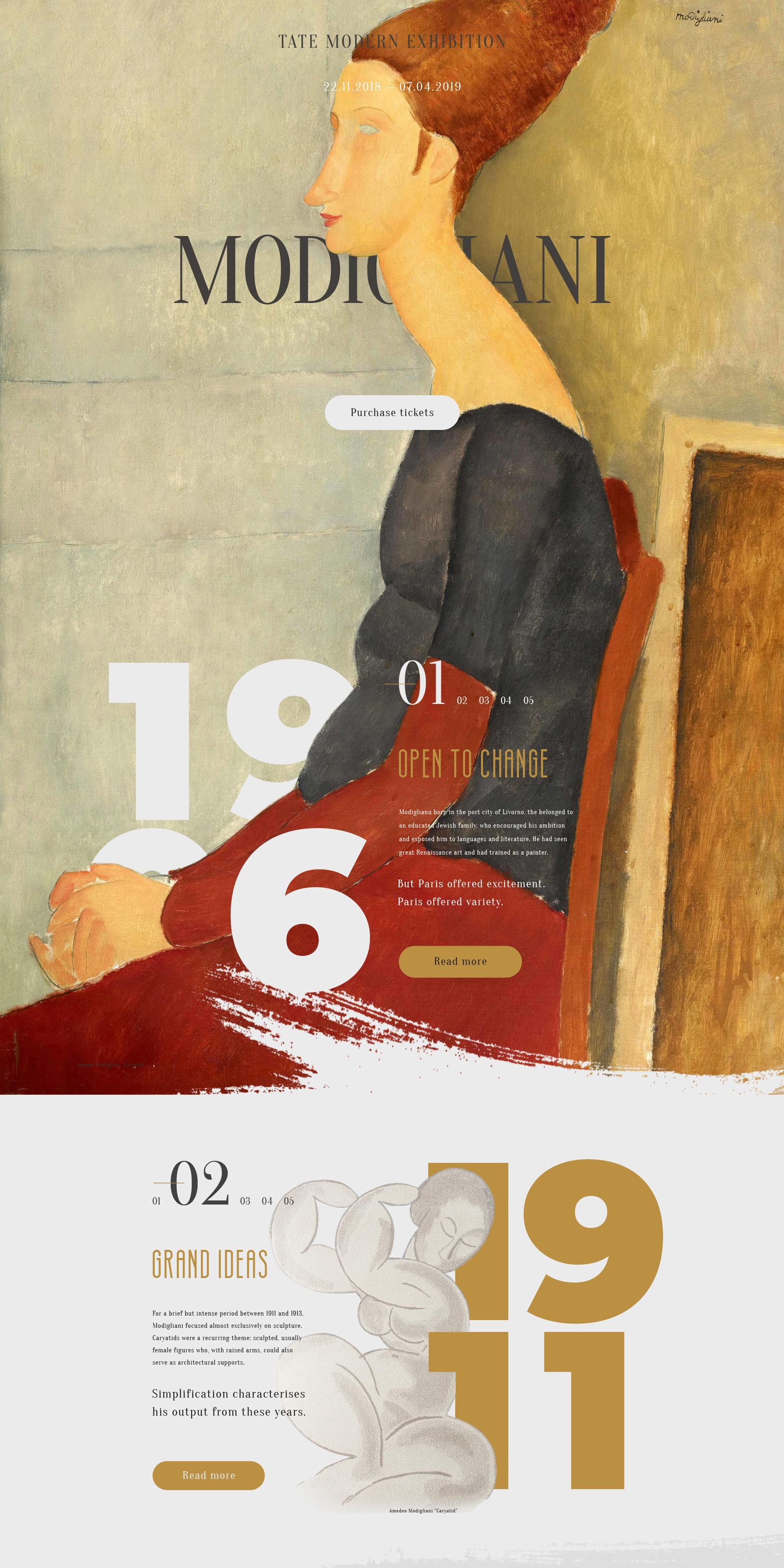 Посадочная страница для выставки картин Амадео Модильяни