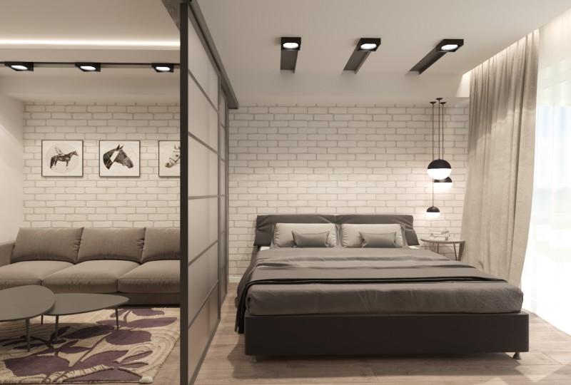 Дизайн квартиры для молодой семьи в стиле лофт. Гостиная-спальня