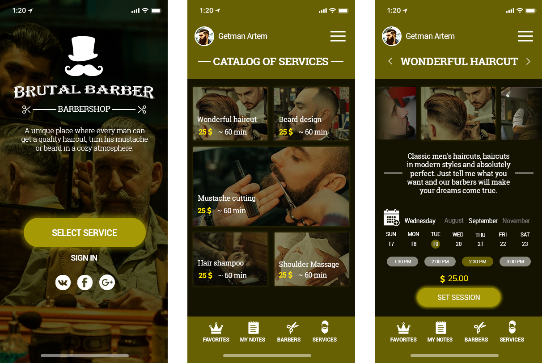 Дизайн  моб. приложения барбершопа